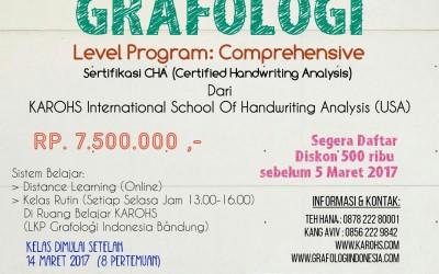 Pendaftaran Kelas Baru Grafologi Program Comprehensive Maret 2017