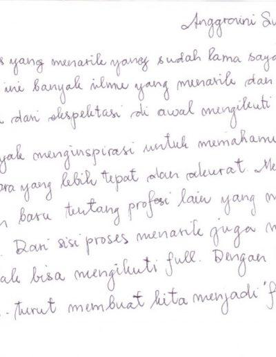 Testimoni kelas intensif CHA Dr Ir Anggraini Sukmawati
