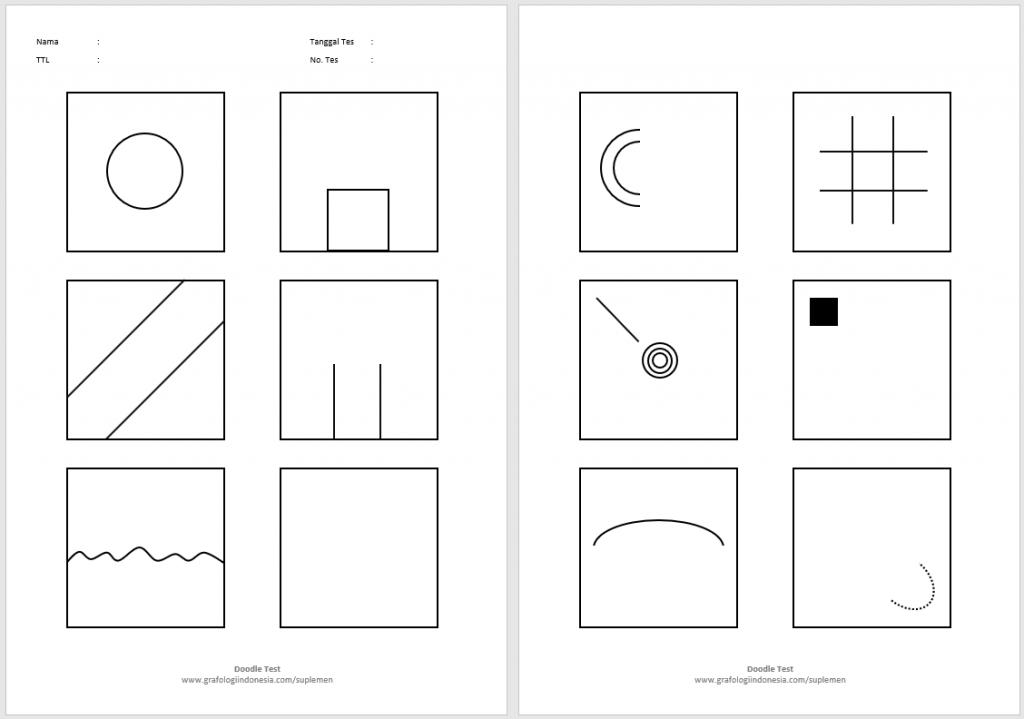 tes doodle arti gambar coretan arti warna 12 kotak